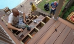 Installing the deck boards for the stairs...