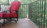 The aluminum handrail system was a perfect match for the color of the deck boards, plus the thin frame designs offers an unhampered view of the wilderness beyond