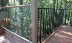 Durante installed custom clear-panel hand rails on one portion of the deck and then installed aluminum hand rails on the remainder. Customer loved it. Very cool, a little different what what you normally find.