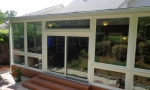 Front View- composite steps + extra wide sliding glass door